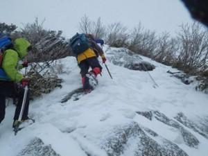 白毛門へ一路(雪が少ない)