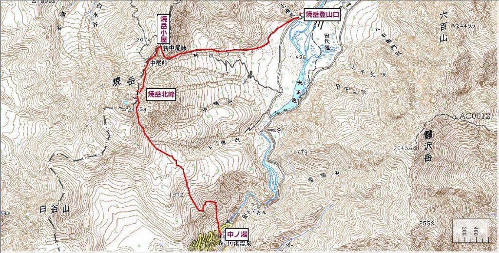 焼岳ルート図