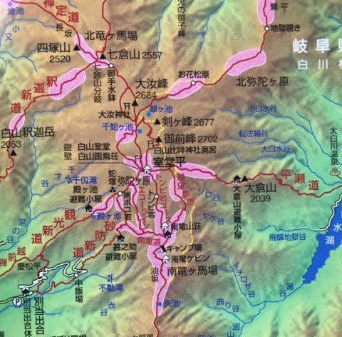 白山のお花畑の地図