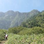 夜明峠から石鎚山を見上げる