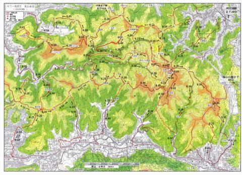 葉山の山歩きコース付属地図1 (歩行時間記入カラー地図)